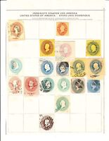 MULTIPLE PAGE COLLECTION OF US BOB POSTAL STATIONARY CUT SQUARE STAMPS