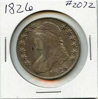 1826 50C CAPPED BUST SILVER HALF DOLLAR. CIRCULATED. LOT 1765