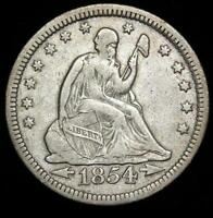 1854  P SEATED LIBERTY SILVER QUARTER MINTED 1838 1891 WITH ARROWS LOT 917
