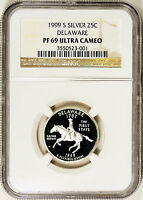 1999 S SILVER 25C DELAWARE STATE QUARTER NGC PROOF PF 69 ULTRA CAMEO