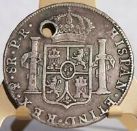 1784 PTS PR BOLIVIAN 8 REALES WORLD SILVER COIN   CAROLUS III   HOLED
