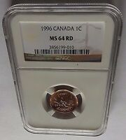 1996 CANADA NGC MS64 RD COPPER PENNY 2ND HIGHEST GRADE ONLY 32 EXIST IN MS64RD