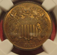 GEM BU 1871 TWO CENT PIECE NGC MINT STATE 65 RED BROWN