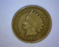 1908 S INDIAN HEAD CENT   KEY DATE   STRONG DETAILS  US COIN