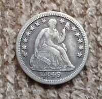 1849 9 OVER 6 SEATED LIBERTY HALF DIME   VF