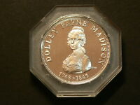 DOLLEY MADISON 1768   1849  STERLING SILVER PROOF MEDAL 26.4G 39MM 4210