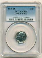 1970 D ROOSEVELT DIME DDR VARIETY FS 802 MS64 PCGS