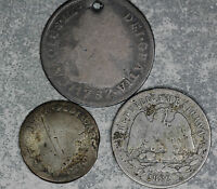 THREE EARLY MEXICO SILVER COINS   1878 2 REALS 1774 REAL 1882 25 CENTAVOS