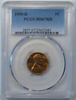1959 D LINCOLN MEMORIAL CENT PCGS MS67RD