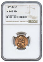 1955 D 1C LINCOLN WHEAT PENNY ONE CENT MS 66 RD RED NGC