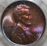 PCGS MS 64 RB 1941 D LINCOLN CENT   AWESOME VIOLET TONING