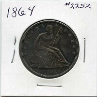 1864 50C LIBERTY SEATED HALF DOLLAR. ALMOST UNCIRCULATED . LOT 1907
