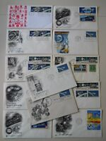 16 SPACE ACHIEVEMENTS/FDCS GEMINI, MERCURY, APOLLO CACHETED BLOCKS PAIRS COMBOS