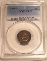 1908 S INDIAN HEAD CENT PCGS VF25:SAN FRANCISCO MINT BOLD MINTMARK NICE LEGENDS