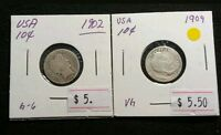 USA 1902 1909 BARBER DIME SILVER BOTH ARE NICE SILVER DIME COINS LOT338