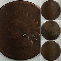 INDIAN HEAD CENTS 187? 1873 1874 1875   NICE US COINS