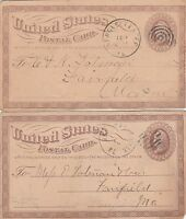 1874 US POSTAL CARD LOT,LIBERTY 1 CENT,WATERVILLE,ME,NEW GLOUCESTER,FAIRFIELD