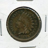 1862 COPPER NICKEL INDIAN HEAD CENT   FINE    HUCKY