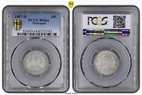 NICARAGUA   SILVER 20 CENT UNC COIN 1887 YEAR KM7 PCGS GRADING MS64
