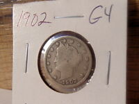 1902 GOOD 4 V - LIBERTY U.S. NICKEL, NO RESERVE - LOT VN55