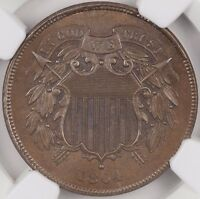 1864 LARGE MOTTO TWO CENT 2C NGC MINT STATE 64 BN