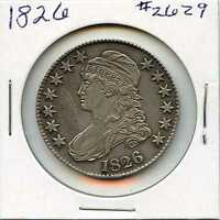 1826 50C CAPPED BUST SILVER HALF DOLLAR. ALMOST UNCIRCULATED. LOT 2365