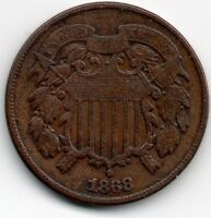 1868 TWO-CENT PIECE - VG  123