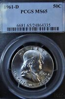1961 D FRANKLIN SILVER HALF DOLLAR   PCGS MS 65