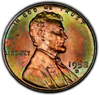 1958 D BU UNC RAINBOW TONED LINCOLN WHEAT CENT   COLORFUL LUSTROUS   M31