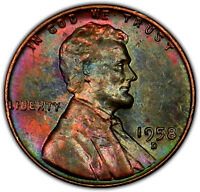 1958 D BU UNC RAINBOW TONED LINCOLN WHEAT CENT GREAT COLOR   M40