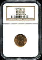 1953-D LINCOLN WHEAT CENT NGC MINT STATE 66 RD GREAT COLOR AND STRIKE -134516