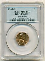 1963 D LINCOLN CENT DDO VARIETY FS 101 MS64 RED PCGS