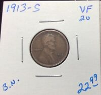 1913-S 1C BN LINCOLN CENT IN VF CONDITION