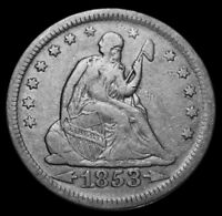 1853 SEATED LIBERTY SILVER QUARTER MINTED 1838 1891 ARROWS & RAYS LOT Z1001