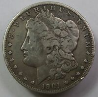 1901-O VAM 1A EAR GOUGE DBL CLASH SILVER MORGAN DOLLAR $1 US COIN ITEM 12602