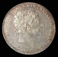1819 LIX SILVER GREAT BRITAIN CROWN GEORGE III COIN LY FINE