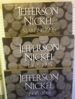 JEFFERSON NICKEL STARTER SET WITH 20 COINS 1938 1995 IN H.E. HARRIS COIN FOLDERS
