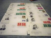 COMPLETE SET OF FAMOUS AMERICAN 1940 35 FDCS MATCHING CACHET 859-893 SAME PERSON
