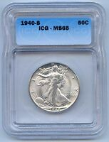 1940 S 50C WALKING LIBERTY SILVER HALF DOLLAR. ICG GRADED MS 65. LOT 2531