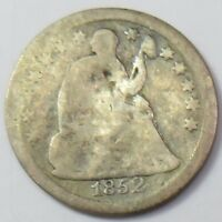 1852-P SEATED LIBERTY HALF 1/2 DIME SILVER 5C US COIN ITEM 12854