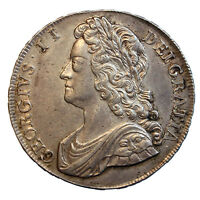 1741 CROWN GEORGE II YOUNG LAUREATE HEAD ROSES IN ANGLES HIGH GRADE