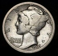 1916 D  MERCURY DIME SUPER  KEY DATE ISSUE EVENLY WORN GOOD CONDITION