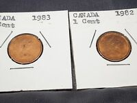 1982   1984 1992 1993 1996 1998 CANADA SMALL CENT CANADIAN ONE CENT SET 7