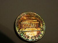 1981 LINCOLN MEMORIAL CENT PENNY RAINBOW TONED    LOT 633