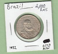1932 BRAZIL 2,000 REIS SILVER COIN   400TH ANNIVERSARY OF COLONIZATION