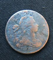 1802 DRAPED BUST LARGE ONE CENT PENNY UNITED STATES ANTIQUE ONE CENT COIN