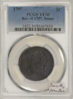 1797 LARGE CENT PCGS VF-30; REV. OF 1797, STEMS; SMOOTH AND ATTRACTIVE