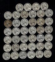 ONE ROLL OF WASHINGTON QUARTERS 1935 59  90 SILVER  40 COINS  LOT S16