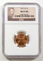 2013 D NGC MS 67RD ABRAHAM LINCOLN UNCIRCULATED 1 CENT LINCOLN LABEL PRISTINE