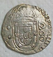 ND  1663  BRAZIL ALFONSO VI OF PORTUGAL COUNTERSTAMPED 250 REIS